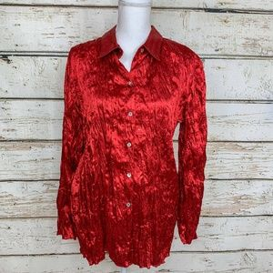 Sz 3 (Large) Chico's Red Sequin Satiny Holiday Top
